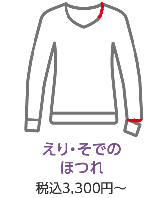 えり・そでの ほつれ 税込3,300円~